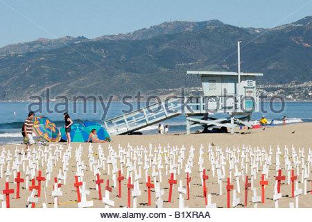 Arlington West Memorial Crosses on Beach Santa Monica California - Stock Photo