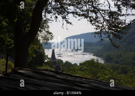 View of Harpers Ferry and the confluence of the Potomac and Shenandoah Rivers from the Appalachian Trail Harpers - Stock Photo