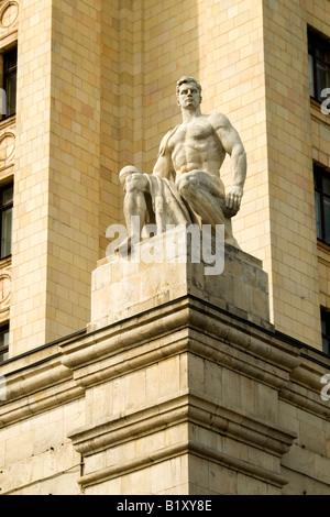 Detail of Stalin-era building at Kudrinskaya Square (1954), Moscow, Russia Stock Photo