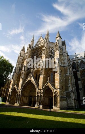North Transept and main visitor entrance of Westminster Abbey London England - Stock Photo