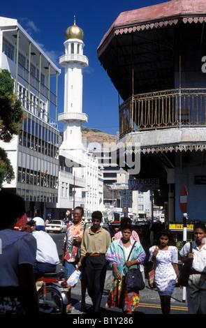 mauritius port louis scene with mosque minaret - Stock Photo