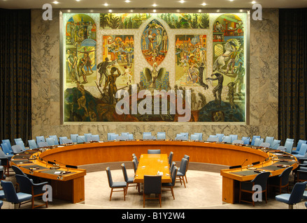 Security Council Chamber, United Nations, New York, USA - Stock Photo