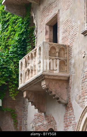 Romeo and Juliet balcony in Verona Italy - Stock Photo