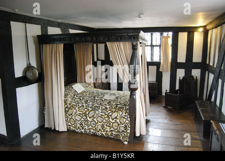 Four-poster bed in bedroom, The Old House, High Town, Hereford, Herefordshire, England, United Kingdom - Stock Photo