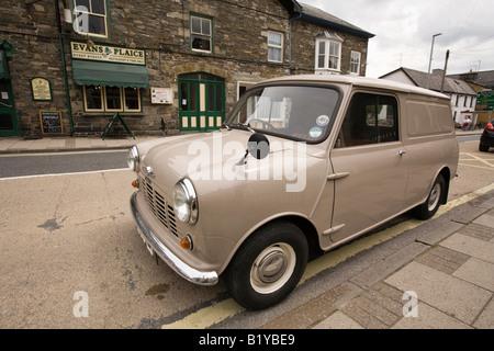 UK Wales Powys Rhayader North Street 1960s mini van parked on yellow line - Stock Photo