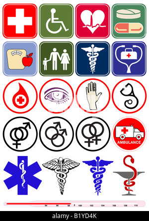 Vector based health and medical objects illustrations, isolated against white background - Stock Photo