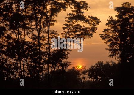 Warm sunset New England, New Hampshire