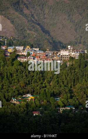 MCLEOD GANJ in the HIMALAYAN FOOTHILLS is now the home of the 14th Dalai Lama in exile DHARAMSALA INDIA - Stock Photo