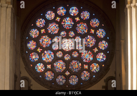 St Albans Cathedral interior north transept rose window modern stained glass Herfordshire England UK circular round - Stock Photo