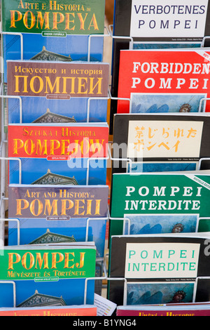 Pompeii guide books in different languages - Stock Photo