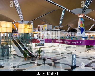 interior of terminal, Kuala Lumpur International Airport, Sepang, Malaysia - Stock Photo