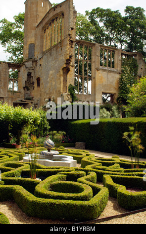The Knot Garden and ruins at Sudeley Castle Winchcombe Gloucestershire UK - Stock Photo