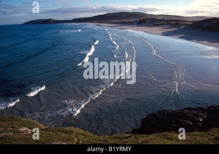 traigh eais wide sweeping sandy bay north isle of barra western isles outer hebrides scotland uk gb - Stock Photo