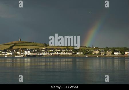 Rainbow over Portaferry Strangford Lough Northern Ireland - Stock Photo