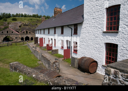Workers' Cottages at the Blaenavon Ironworks Site in Monmouthshire South Wales - Stock Photo