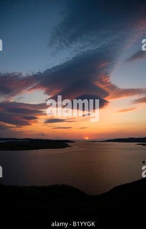 Sunset over Isle Ewe, Loch Ewe, Wester Ross, North West Highland Scotland - Stock Photo