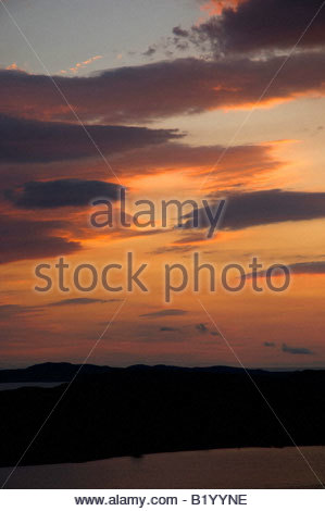 Sunset over Isle Ewe, Loch Ewe, Wester Ross, North West Highland Scotland on the north coast 500 route - Stock Photo