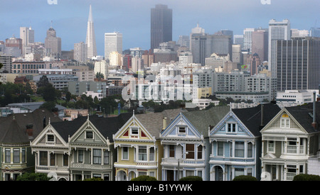 The San Francisco, California skyline as seen from Alamo Square on June 16, 2008. (Photo by Kevin Bartram) - Stock Photo