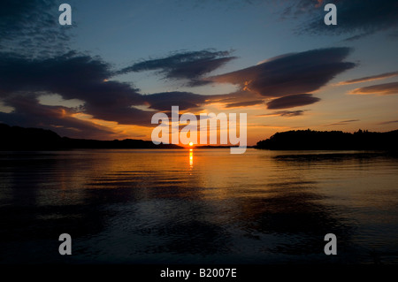 Sunset over Loch Ewe, Poolewe, Wester Ross, North West Highland Scotland on the north coast 500 route - Stock Photo
