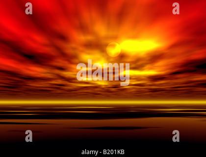 Sunset / sunrise graphic illustration - Stock Photo