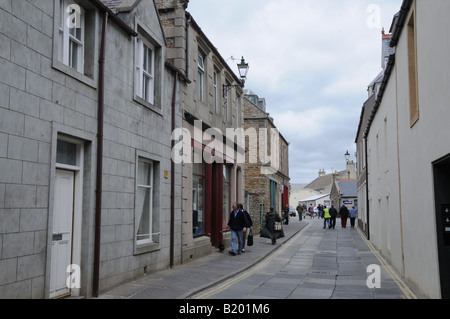A street in Stromness, a town on mainland Orkney. Orkney is an archipelago in the North Sea and is part of Scotland. - Stock Photo