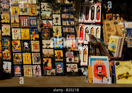 Art and postcard stand along the Seine in the Latin Quarter of Paris, France. - Stock Photo