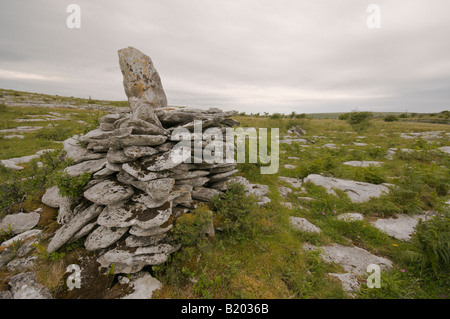 Stone pile in the Burren, County Clare, Ireland - Stock Photo