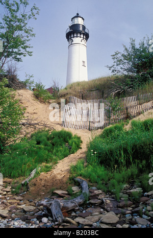 Au Sable Point Lighthouse in Pictured Rocks National Lakeshore on Lake Superior Alger County Michigan - Stock Photo