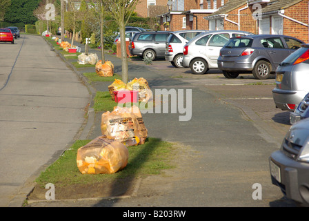 Sorted domestic household rubbish recycle orange sack with glass in red box front garden driveway awaiting collection - Stock Photo