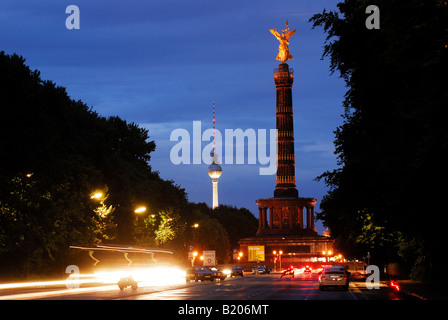 berlin, Siegessaule Victory Column in the night, germany - Stock Photo