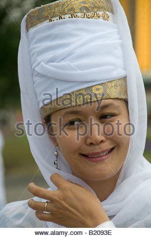 Woman wearing traditional headgear. Kazakhstan - Stock Photo