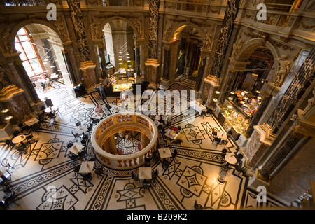 View inside a Cafe in the cupola hall of the Kunsthistorisches Museum Art Histroy Museum Vienna Austria - Stock Photo