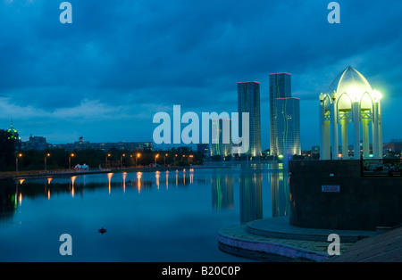 Scenic view of downtown and Ishim river. Astana, Kazakhstan - Stock Photo
