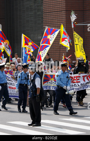Pro-Tibet march during the G8 summit in Sapporo, Japan. - Stock Photo