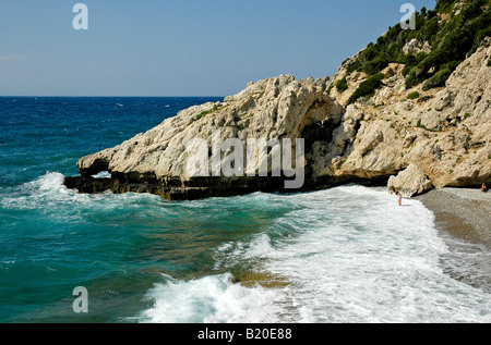 Mikro Seitani beach on the island of Samos in Greece Stock ...