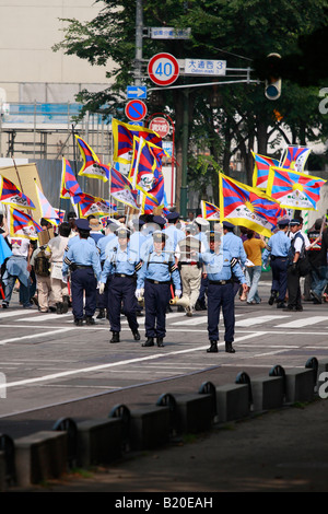 Pro-Tibet demonstration during the G8 summit in Sapporo, Japan. - Stock Photo