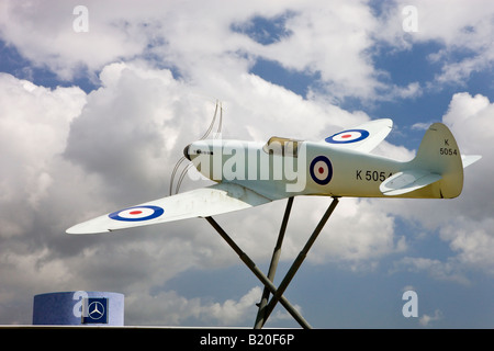 Replica of a Supermarine Spitfire outside Southampton Airport Hampshire England - Stock Photo