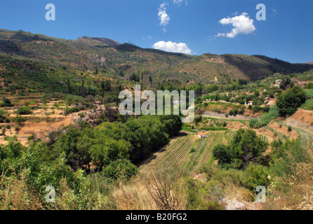 Aerial view of the valley of the imvrasos brook on Samos island, Greece - Stock Photo