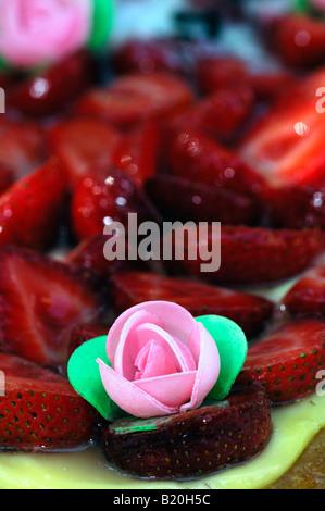 cake with fresh strawberries - Stock Photo