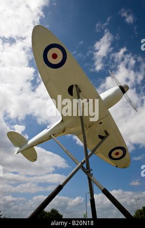 Replica of a Supermarine Spitfire outside Southampton Airport Hampshire England - Stock Photo
