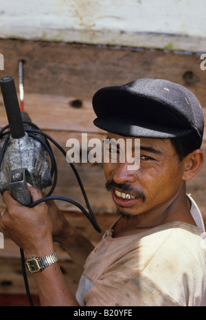 boat being made in the Jakarta docks - Stock Photo