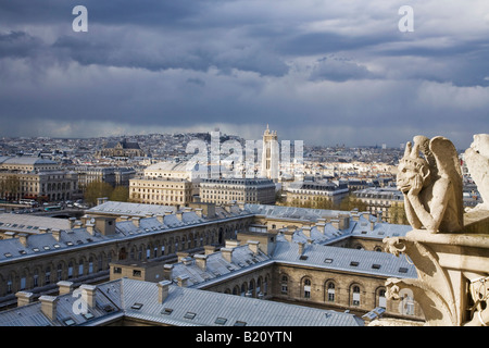 View from Notre Dame with gargoyle looking to Montmartre Paris France Europe EU - Stock Photo