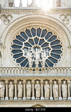 Notre Dame Cathedral front west facade entrance detail Paris France Europe EU - Stock Photo