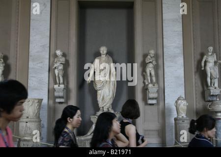 statues in corridor, vatican museum, rome - Stock Photo