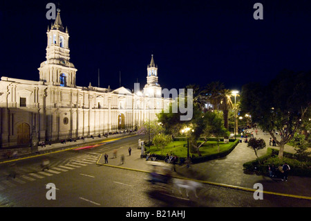 The Basilica Cathedral of Arequipa located in the main square (Plaza de Armas) of Arequipa. - Stock Photo