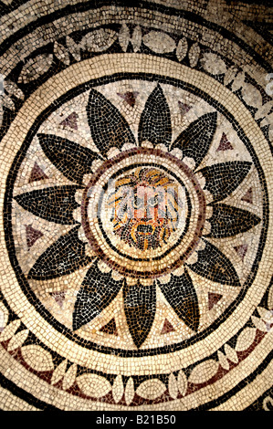 Sections of months and seasons pavement 4th century AD Carthage  Roman archaeology - Stock Photo