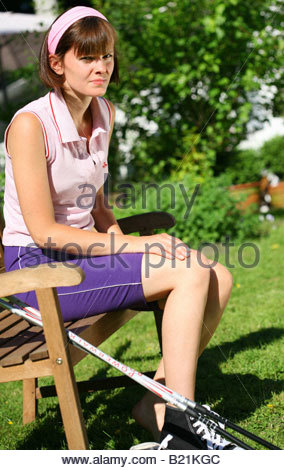 young woman resting after sports Stock Photo