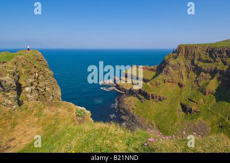 Giants Chimney tops Giants Causeway north Antrim coastal path County Antrim Northern Ireland GB UK EU Europe - Stock Photo