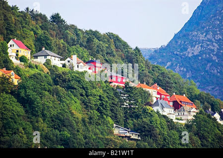 View of wooden houses above Bergen Mount Floyen, Norway - Stock Photo