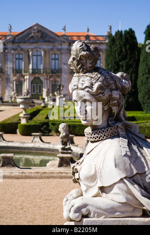 Female Sphinx Sculpture At The Neptune Gardens And Cerimonial Facade On The  Queluz Royal Palace (